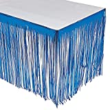 BLUE FRINGE TABLESKIRT - Party Supplies - 1 Piece