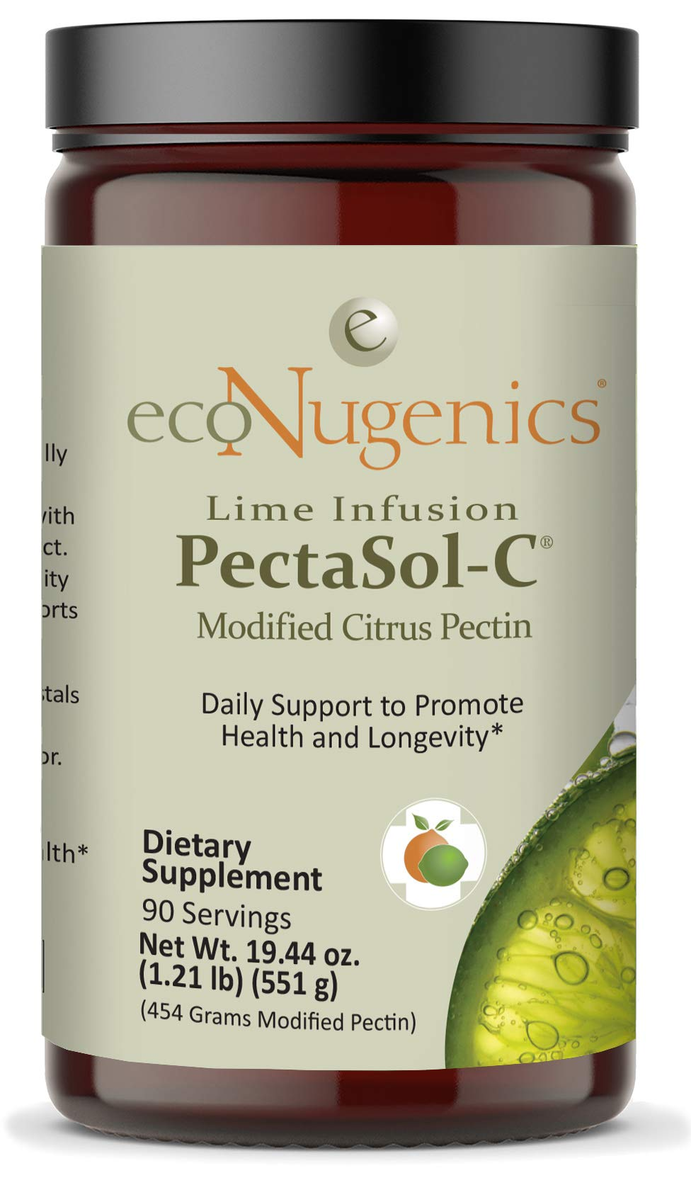 ecoNugenics - Lime Infusion -C Modified Citrus Pectin - 551.29 Grams - Professionally Formulated to Help Maintain Healthy Galectin-3 Levels - Supports Cellular & Immune System Health