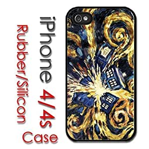 iPhone 4 4S Rubber Silicone Case - Tardis Dr Who phone booth van gogh paint