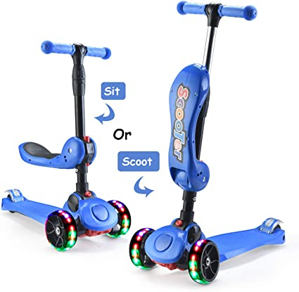2-in-1 Extra-Wide PU Flashing Wheels Toddler Scooter with Removable Seat Scooters for Child Boys Girls from 1 to 8 Year Old Kick Scooters for Kids Toddler 3 Wheel Scooter Adjustable Height Handle