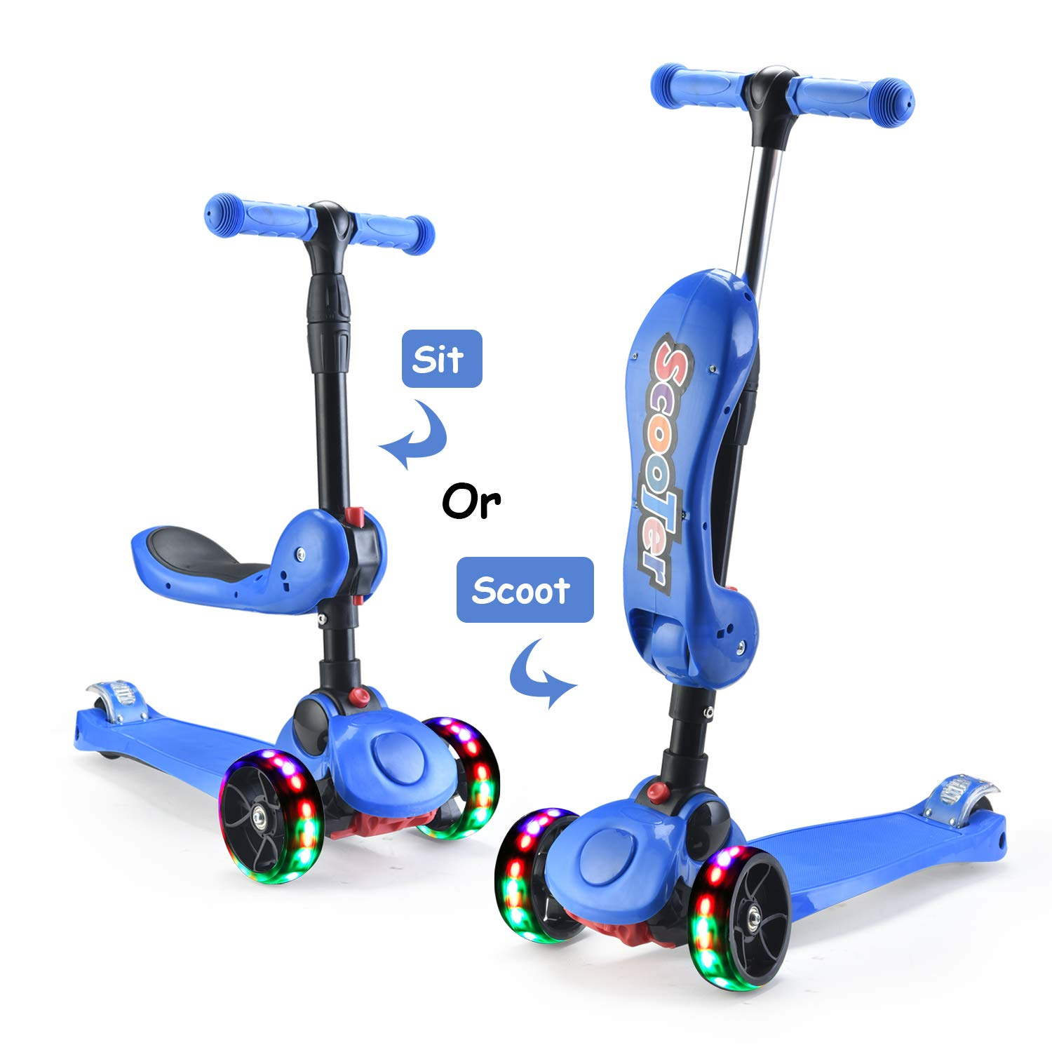 AOODIL 2-in-1 Kick Scooters for Kids Toddler 3 Wheel Scooter for Boys&Girls -Kids Scooter with LED Light Up Wheels -Adjustable HeightWide Deck for Children from 2 to 14 Year-Old by AOODIL