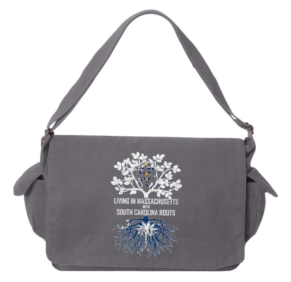 Tenacitee Living In Massachusetts with South Carolina Roots Grey Brushed Canvas Messenger Bag