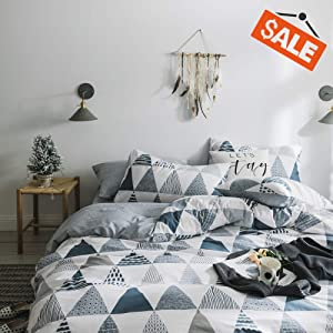 VClife Cotton Gray Bedding Sets Queen Full 3 Pieces Duvet Cover Sets for Children Teens Adults, Reversible Geometric Print Bedding Cover Sets, Wrinkle Fade Stain Resistant, Hypoallergenic, Cozy