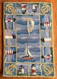 Kensington Row Coastal Collection Area Rugs - Grand Regatta Hand Hooked Wool Rug - 20' x 30' - Lighthouses - Sailboats - Nautical Decor