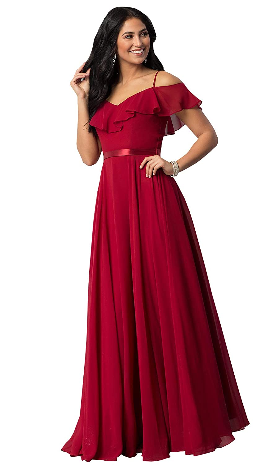 Now and Forever Womens Off The Shoulder Ruffled Chiffon Bridesmaid Dress Long Formal Prom Gown