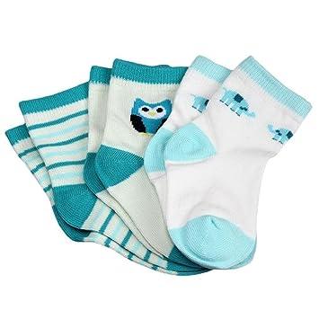 Koly 3 Pack Booties, Calcetines Bebé, Calcetines Niño, color azul (1-3 años): Amazon.es: Hogar
