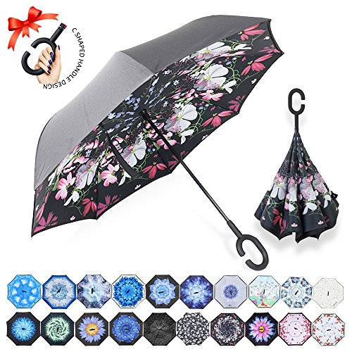 ZOMAKE Double Layer Inverted Umbrella Cars Reverse Umbrella, UV Protection Windproof Large Straight Umbrella for Car Rain Outdoor with C-Shaped Handle(Beauty Flower)