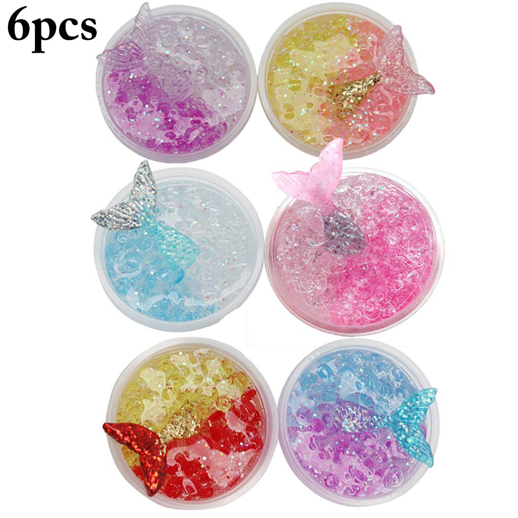 Joyibay 6 Boxes Crystal Slimes Mermaid Flat Beads Sludge Toys Stress Relieve Toy