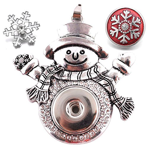 Lovglisten Snowman Snap Button Pendant with 2pcs 18-20MM Christmas Style Snaps - 20 Snowman