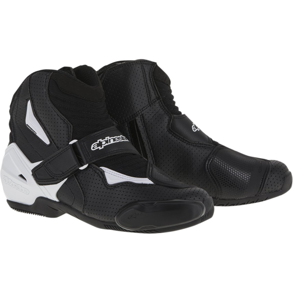 Alpinestars SMX-1R Vented Men's Street Motorcycle Shoes - Black/White / 40 by Alpinestars (Image #1)