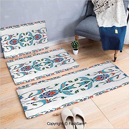 (FashSam 3 Piece Flannel Bath Carpet Non Slip Old Turkish Ceramic Mosque with Tulips Vintage Ottoman Heritage Image Front Door Mats Rugs for Home(W15.7xL23.6 by W19.6xL31.5 by W31.4xL47.2))