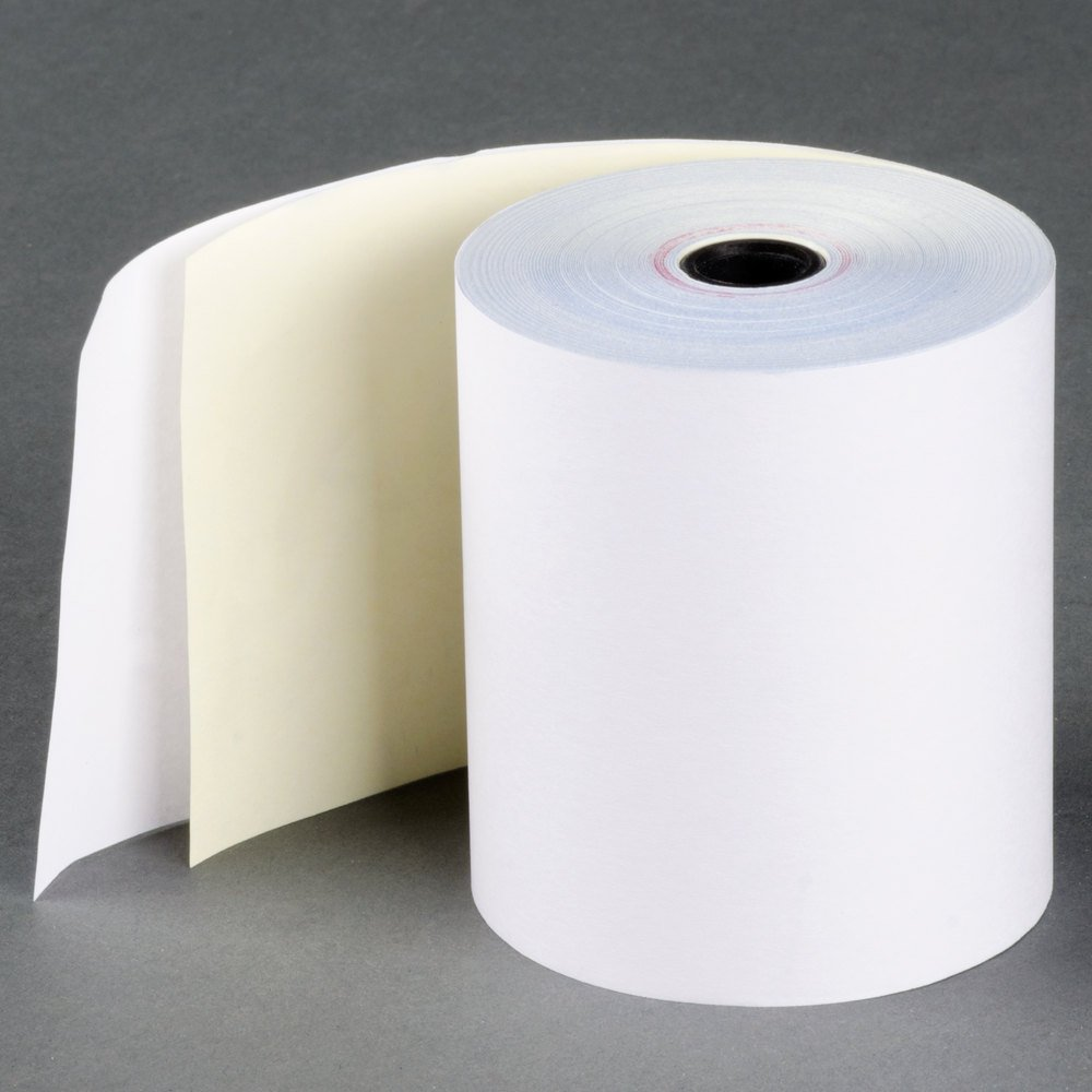 2-ply 3'' inch 90' Feet (50 Rolls) Carbonless Register Bond Pos Paper Rolls Made in USA From BuyRegisterRolls