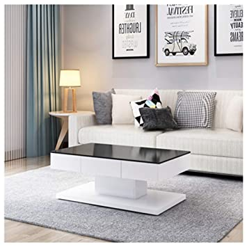 OFCASA White Coffee Table High Gloss With 2 Drawers For Storage, Painting  Tempered Glass Top