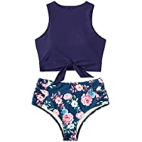 Women's Two Piece Bikini Set Knot Front Crop Top Floral Printed Bottom Swimsuit