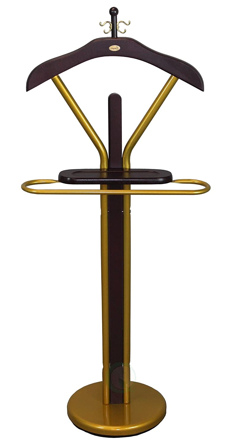 Uniquewise Wood Valets with Gold Finish, Suit Valet Rack Stand 46