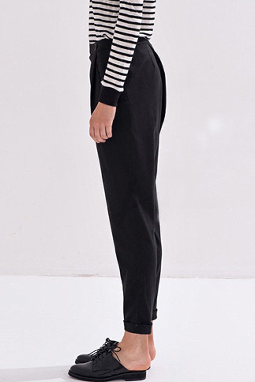 ACHICGIRL Women's Fashion Button Closure Ninth Harem Pants