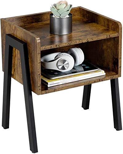 Topeakmart End Table for Small Spaces, Nightstand with Storage Drawer, Side Table for for Living Room, Bedroom, Easy Assembly