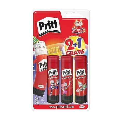 Pritt Barra Adhesiva, pegamento infantil seguro para niños para manualidades, cola universal de adhesión fuerte para estuche escolar y oficina, 2+1 x ...