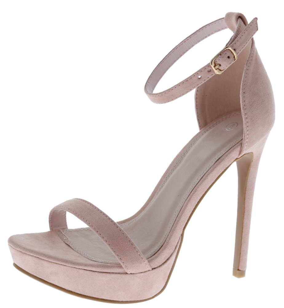 cced62ab2a9 Cambridge Select Women s Open Toe Single Band Buckled Ankle Strap Platform  Stiletto High Heel Sandal