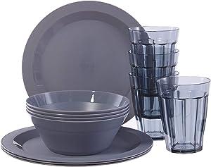 Cambridge Plastic Plate, Bowl and Tumbler Dinnerware | 12-piece set Grey