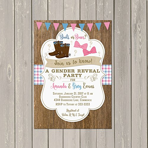 Amazon Com Boots Or Bows Gender Reveal Invitation Boots Or Bows