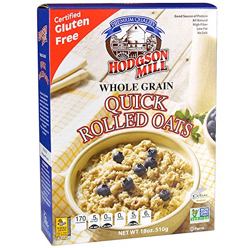 Hodgson Mill Quick Rolled Gluten-Free Oats, 18 Ounce (Pack of 6) (Rolled Oats Steamed)