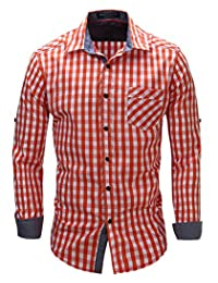 Musen Mens Cotton Plaid Long Sleeve Button Down Casual Dress Shirts