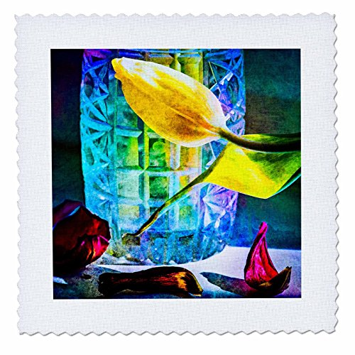 Crystal Flora Vase (3dRose Alexis Photography - Flowers Tulip - Sunlit tulips and crystal vase. Decay - 12x12 inch quilt square (qs_267123_4))