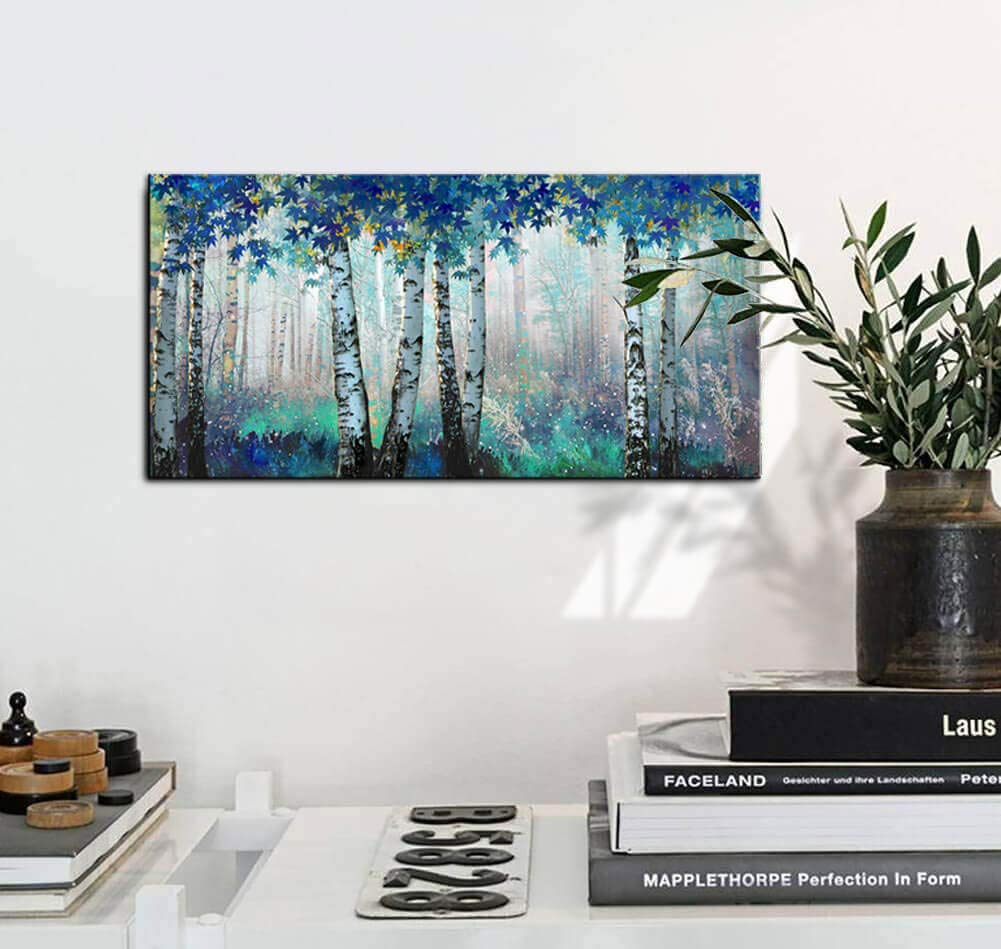 Yiijeah Oil Painting Modern Wall Art 5 Panels Black and White Willow Tree Landscape Painting Print on Canvas Stretched and Framed Artwork Ready to Hang for Living Room Bedroom Wall Decor