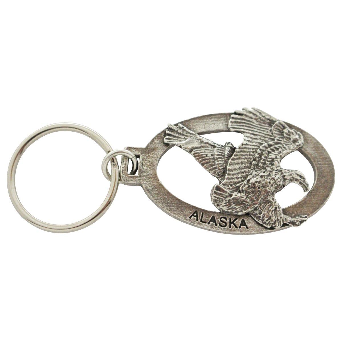 Creative Pewter Designs, Pewter Alaska Eagle Key Chain, Antiqued Finish, A618KC
