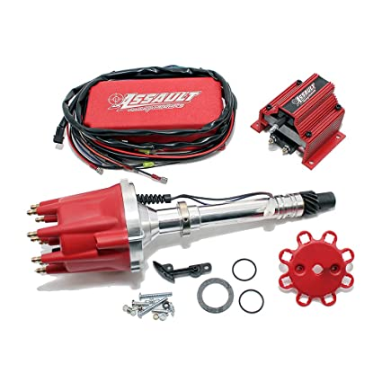 Assault Racing Products 1535021 Chevy V8 Pro Billet Red Mech  Distributor  Coil Ignition Box Kit SBC BBC 327 350 396 454
