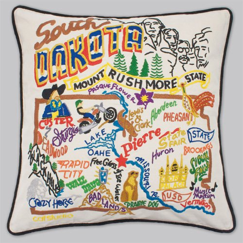 South Dakota State Pillow by Catstudio by Catstudio Embroidered Pillow