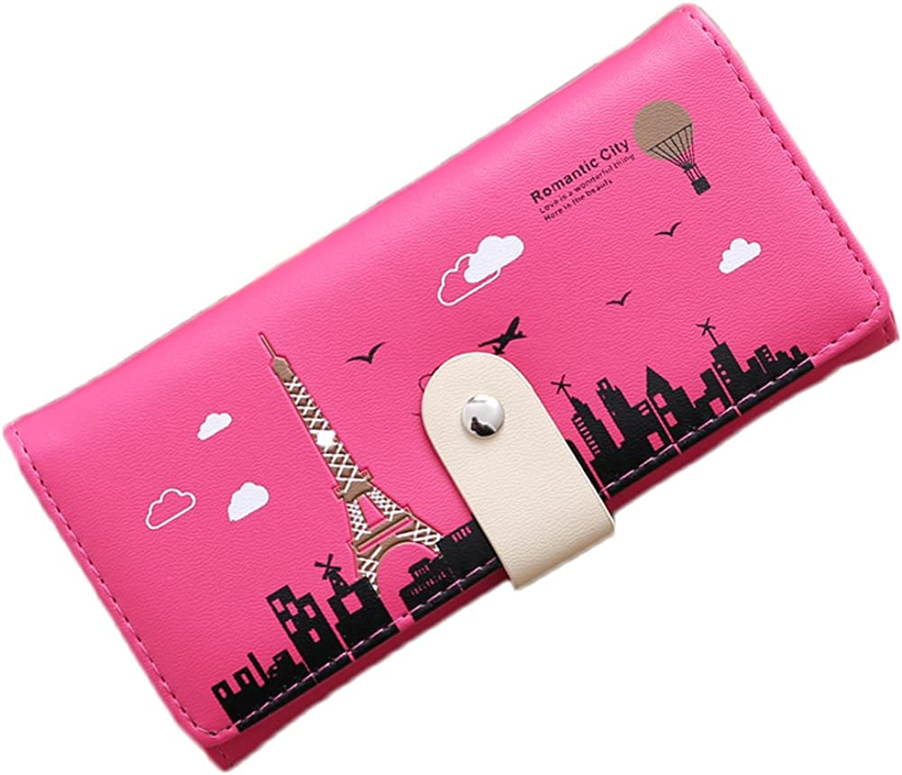 Potato001 Fashion Tower Pattern Wallet Women Long Button Coin Purse Card Holder Clutch