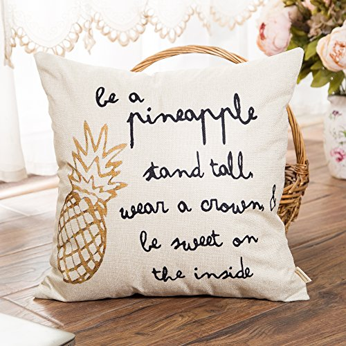 Fahrendom Be a Pineapple Stand Tall Wear a Crown ans Be Sweet on the Inside Inspirational Quote Cotton Linen Home Decorative Throw Pillow Case Cushion Cover with Words for Sofa Couch 18 x 18 Inch