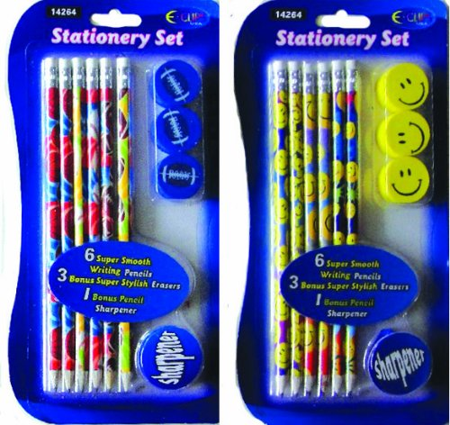 Smiley & Sport Pencil 10 Piece Set 72 pcs sku# 1285306MA by DDI