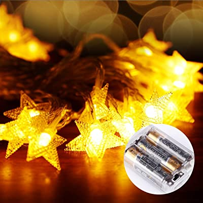 Wenscha Fairy Star String Lights 40 LED, LED Five-Pointed Twinkle Star String Lights, 20 Feet 40 LEDs Star with Battery Powered, Decorative Bedroom, Garden, Parties, Wedding - Warm White : Garden & Outdoor