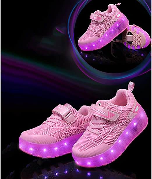 YURU Kids Led Roller Shoes,boys Technical Skateboarding