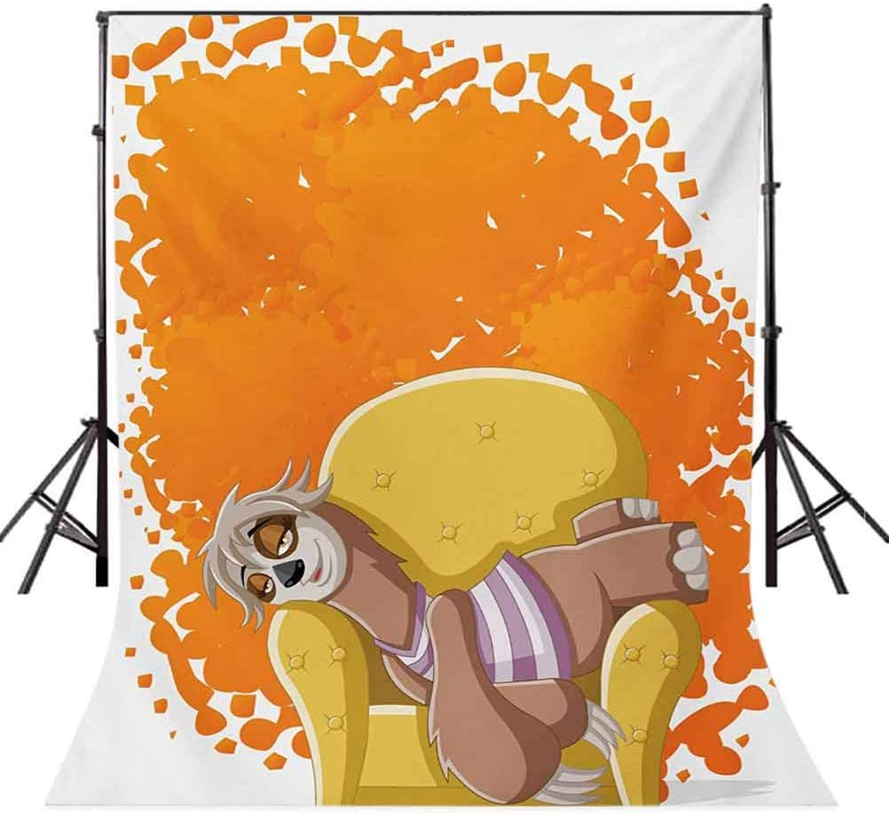 Sloth 10x15 FT Photo Backdrops,Lazy Female Cartoon Sloth on Sofa Napping on Couch Dreaming Mascot Speech Bubble Background for Baby Birthday Party Wedding Vinyl Studio Props Photography Orange Yellow