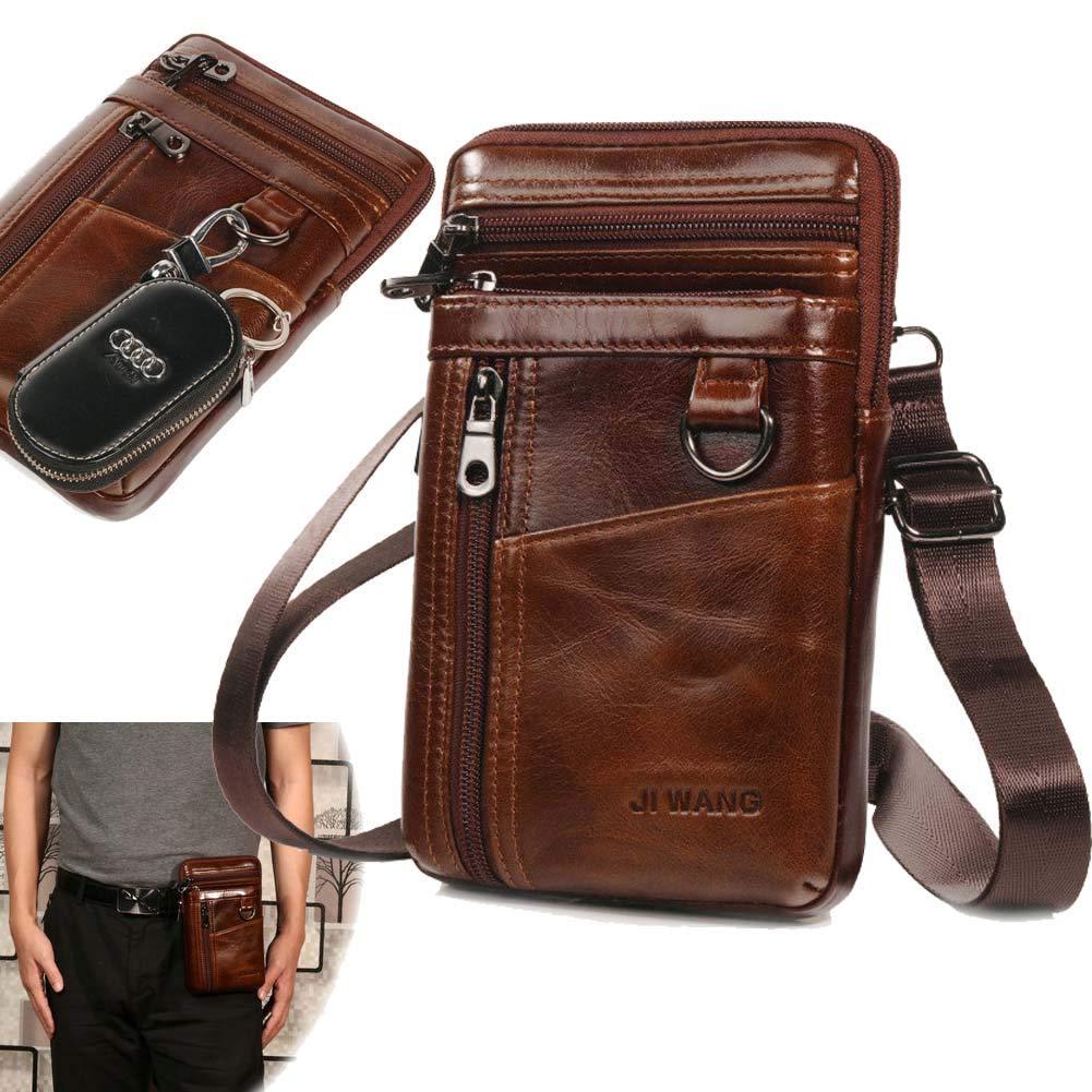 Aonet Leather Cell Phone Holster Purse Men Crossbody Shoulder Bag Travel Messenger Pouch Waist Belt Clip Pack Bag - Brown by Aonet