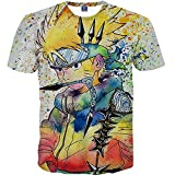 Nemolemon Men's Fashion 3D Print Uzumaki Naruto Casual Cartoon T-Shirts,Large, Multi-Colored