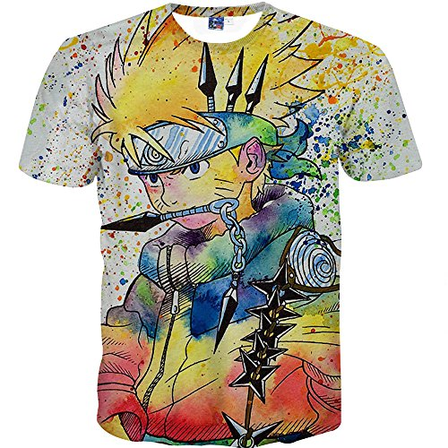 Nemolemon Men's Fashion 3D Print Uzumaki Naruto Casual Cartoon T-Shirts,Medium, Multi-Colored