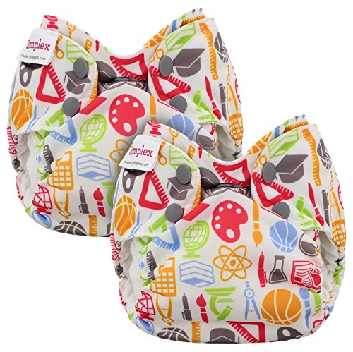 Blueberry Newborn Simplex All in One Cloth Diapers, Bundle of 2, Made in USA (Back to School)