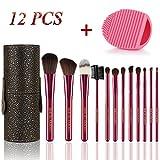 BMK Makeup Brush Set Blending Cosmetics Brush Tools for Face Powder Foundation Eyeshadow Eyebrow Blush Lip Concealer Brushes Kit With Cleaning Egg and Travel Case(12Pcs)