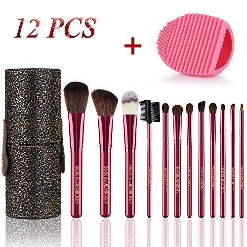 BMK Makeup Brush Set Blending Cosmetics Brush Tools for Face Powder Foundation Eyeshadow Eyebrow Blush Lip Concealer Brushes Kit With Cleaning Egg and Travel Case(12Pcs) by BMK BLUEMICKEY