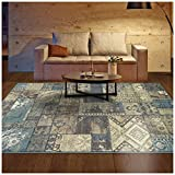 Superior Zedler Collection Area Rug, 10mm Pile Height with Jute Backing, Fashionable and Affordable Rugs, Vintage Oriental Patchwork Rug Design - 2'7'' x 8' Runner, Blue and Beige