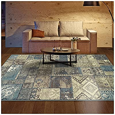 "Superior Zedler Collection Area Rug, 10mm Pile Height with Jute Backing, Fashionable and Affordable Rugs, Vintage Oriental Patchwork Rug Design - 2'7"" x 8' Runner, Blue and Beige - DURABLE, SOFT, and PLUSH. Woven and crafted with the highest quality 100% Polypropylene fibers for premium quality rugs which are soft and plush yet stand up to high traffic. These gorgeous and elegant rugs are easy to clean, making them perfect for high traffic and spill-prone areas including dining rooms, family rooms, hallways, foyers, playrooms, and children's bedrooms DESIGNER FAVORITE. Decorate your home with a popular patchwork Oriental Rug design in versatile shades of blue and beige. With designs from Persian Rugs, Kilim Rugs, and Moroccan Rugs, this exquisite rug combines contemporary and vintage rug aesthetics for a gorgeous focal point in any room. This rug is available in 2' 7"" x 8' runner, 4' x 6', 5' x 8', and 8' x 10' to fit any space in your home. The 10mm or 0.39"" pile height finds the perfect balance between comfortably plush and easy to clean FINE CONSTRUCTION. Well made with jute backing, a non-slip under rug pad is recommended. Our area rugs' polypropylene material is anti-static, moth-proof, and hydrophobic. Their moisture and mildew-resistant nature makes these rugs an ideal choice for humid or damp environments such as finished basements, attic bonus rooms, and laundry rooms - living-room-soft-furnishings, living-room, area-rugs - 61VAwJVHdcL. SS400  -"