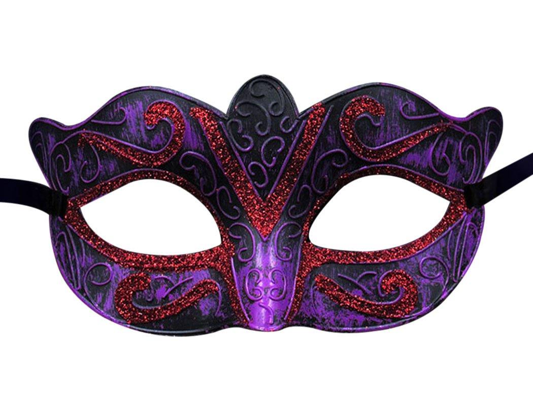 ユニセックスヴィンテージVeniceハロウィンコスチューム仮面舞踏会マスクハーフフェイスマスク B074N2Q7BX Purple and Red Purple and Red