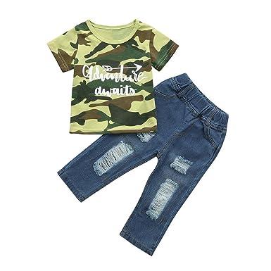 Amazon.com: dinlong 2pcs niños Baby Boy ropa Set letra ...