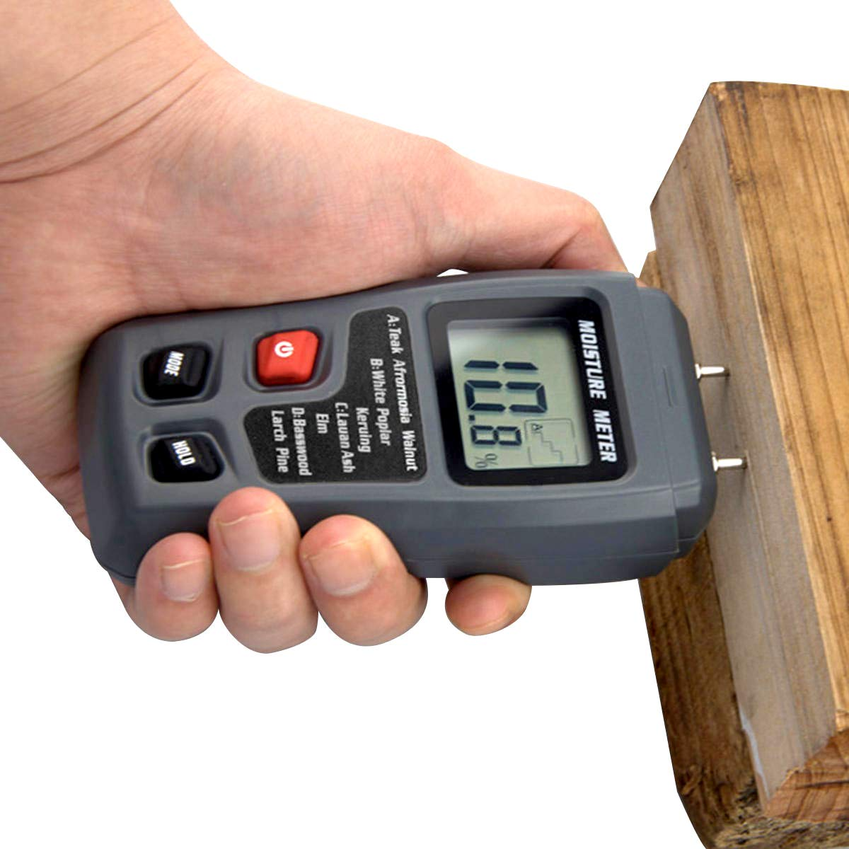 Goodfans Digital Pro Moisture Meter with LCD Hydrometer for Wood Test Moisture in Firewood, Furniture, Floor, Trees (Battery Included) 0%-99.9% by Goodfans