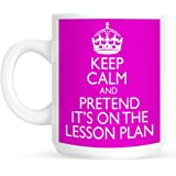Keep Calm and Pretend Its On The Lesson Plan PINK Mug Cup Gift Retro